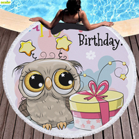 DEKOP Round Towel Beach Microfiber Large Towel Owl Pattern Super Absorbent Towels Shower Swiming Adults Towel