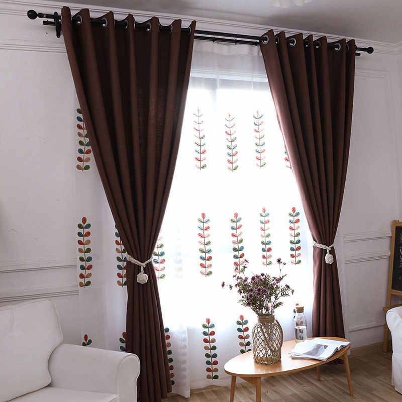 Simple Style Pink Linen Cloth Room Decor Curtains Window drapes for window curtain living room purple sheer curtains 198&30