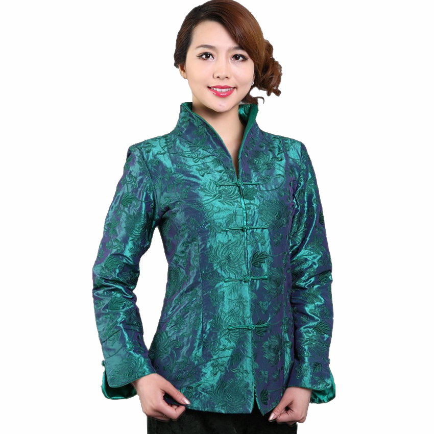 Flower Jacket Overcoat Chinese Embroidery Autumn Women Blue XL XXXL Silk M-04 National