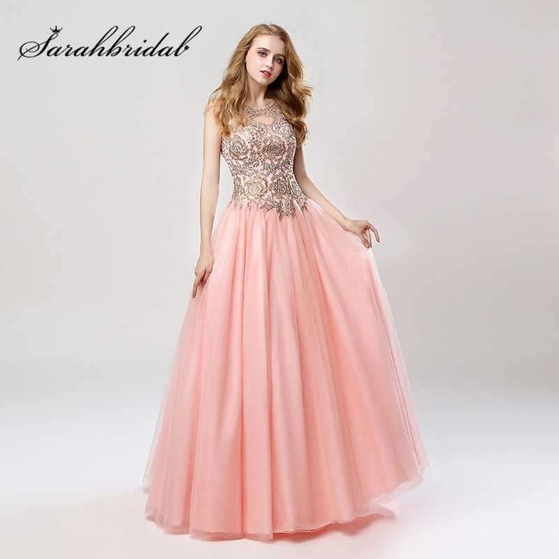 Cheap New Arrival Ball Gown Blush Evening Dresses With Lace Beading Appliques Tulle Lace Up Back Sweet 16 Prom Party Gowns LX471