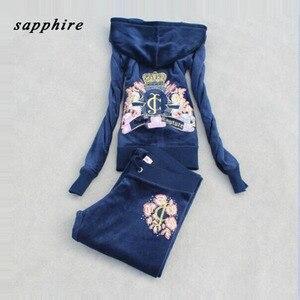 Image 4 - Survêtement en tissu velours pour femme, survêtement féminin, survêtement féminin, sweat à capuche et pantalon, taille S à XXXL, printemps/automne, 2018