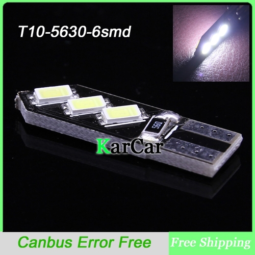 T10 Canbus LED Clearance Lights, W5W 194 5630 6SMD Free Error Car  Marker Bulbs 161 912 Door Lamp 168 921 Licence Plate Lights deechooll 2pcs wedge light for mazda 2 3 5 6 mx5 rx8 cx7 626 gf gg ge gw canbus t10 57smd 6w led clearance xenon lighting bulbs
