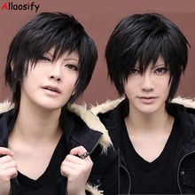 hot deal buy allaosify cosplay tomb notes wigs male short hair fashionable fluffy short straight hair high temperature fiber synthetic hair