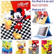 Планшет чехол для Apple ipad 5 6 Air 2 ipad 9,7 2017 2018 с Микки Маусом стежка защитный чехол-подставка основа пара чехлов Капа