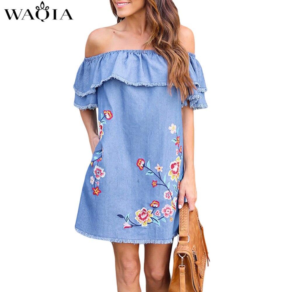 WAQIA 2018 Embroidery Women Dress Loose Slash Neck Jeans Dress Summer Casual Short Sleeve Ladies Elegant Denim Dresses vestidos Платье