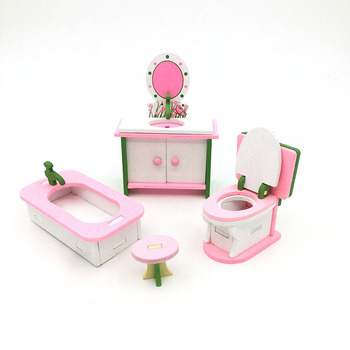 1:12 Dollhouse Miniature Furniture Wooden Creative Bathroom Bedroom Restaurant For Kids Action Figure Doll House Decoration Doll