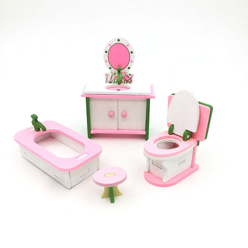 1:12 Dollhouse <font><b>Miniature</b></font> Furniture Wooden Creative Bathroom Bedroom Restaurant For Kids Action Figure Doll House Decoration Doll image