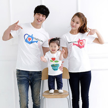 Paent-child family of three short-sleeved mother and daughter cotton pure print white short-sleeved group activities family wear 940 saturdays family activities