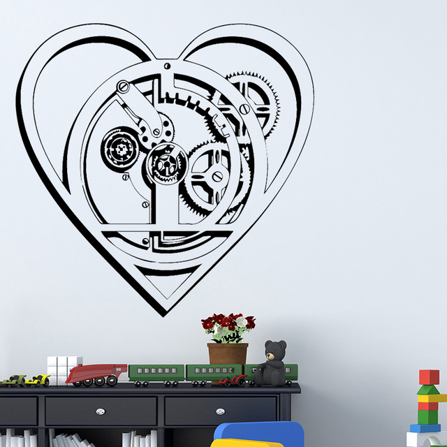 technology heart wall stickers background wall art decal home