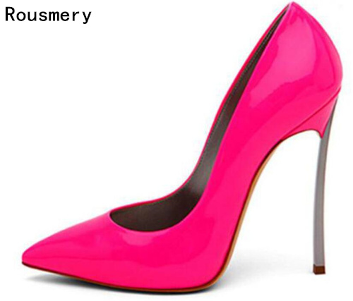 Brand Shoes Woman High Heels Women Pumps Stiletto Thin Heel Women's Shoes Hot Pink Pointed Toe High Heels Wedding Shoes size 42 new shoes woman high heels women pumps stiletto thin heel women s shoes nude pointed toe high heels wedding shoes size 33 40