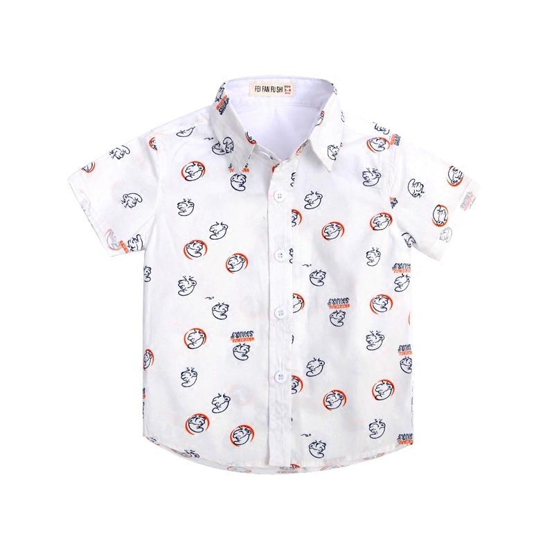 13604f46d5d3eb Hot Koop Nieuwe 2017 Zomer Kinderkleding Merk Mode cartoon Gedrukt Kids  Kleding Gentleman Jongens Shirts voor 2-8 Jaar