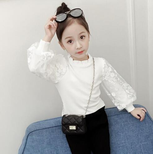 2019 Autumn Winter Cotton Baby Toddler Teenager Girls   Blouse   White Lace Puff Long Sleeve Girl   Shirt   Kids Tops Children's Clothes