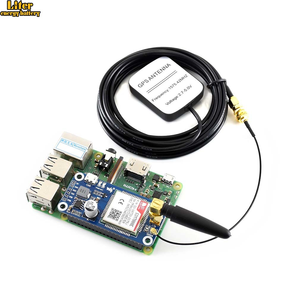 NB-IoT/eMTC/EDGE/GPRS/GNSS HAT For RPi Zero/Zero W/Zero WH/2B/3B/3B+, Based On SIM7000E,Supports TCP,UDP,PPP,HTTP,Mail