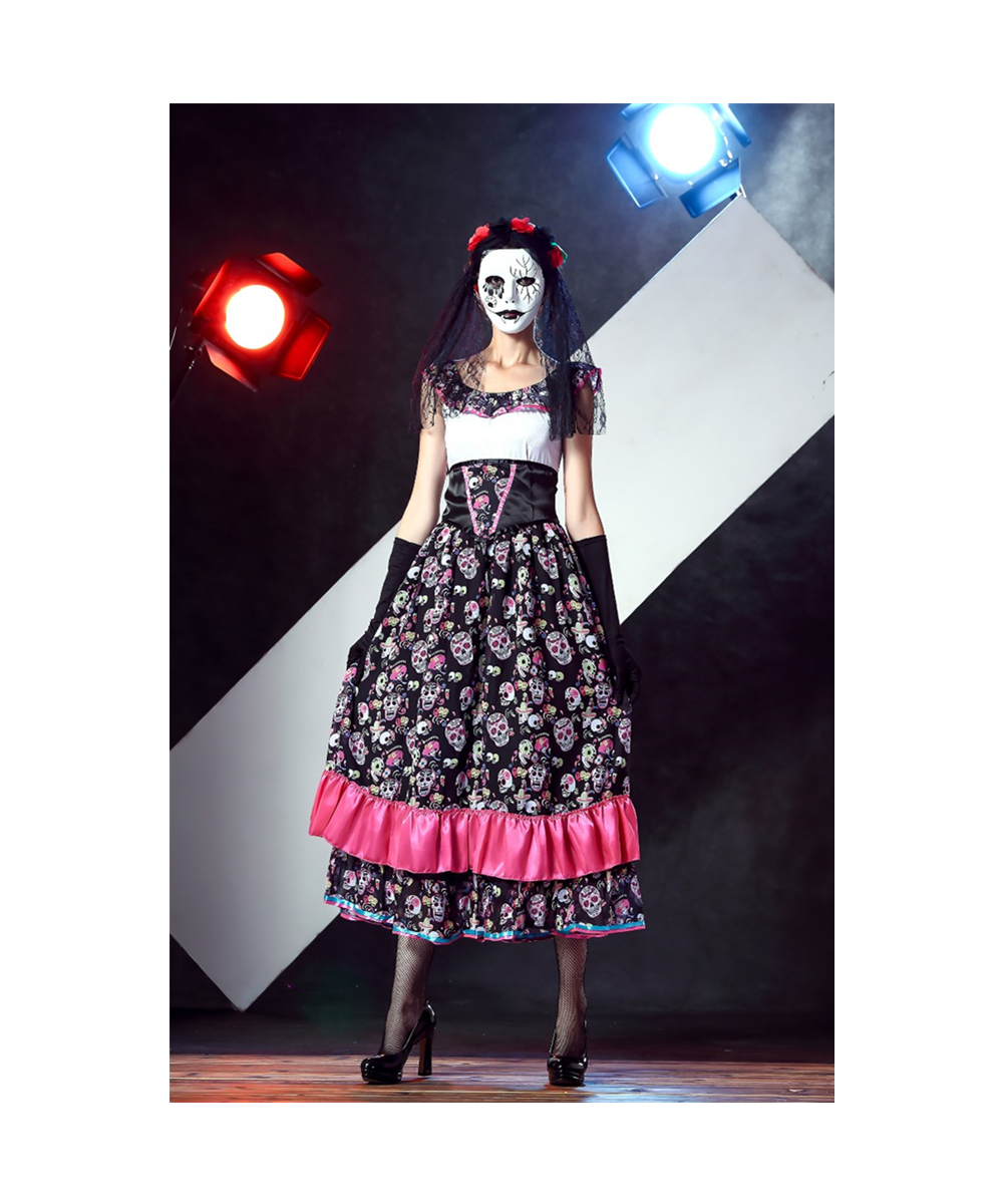 halloween spanish lady day of dead costume l15408-in scary costumes