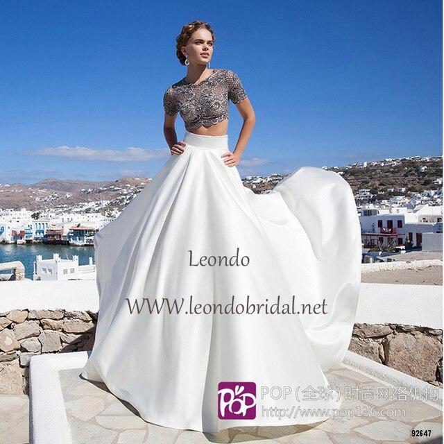 452324d05f08 Tarik Ediz Long White robe De soirée 2015 élégante Sexy manches courtes  perles deux pièces robes