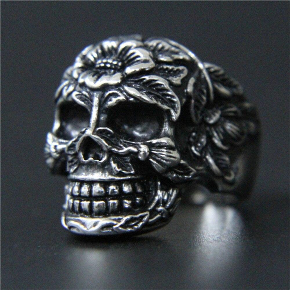 1 stück Unterstützung Drop Ship Ghost Schädel Ring 316L Edelstahl Schmuck Männer Jungen Punk Rose Blume Schädel Ring