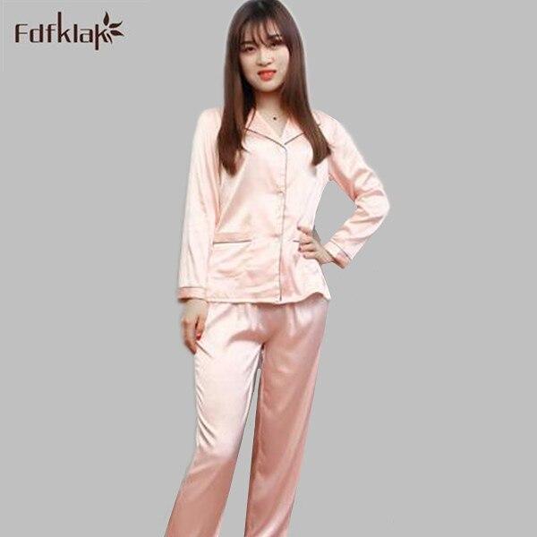 c9ad40a31a8d € 18.35 49% de DESCUENTO|Nueva moda 2019 pijamas de talla grande para mujer  pijama de seda de manga larga conjunto de ropa de dormir de primavera y ...