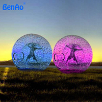 WB002 BENAO 3m Inflatable Zorb wall/Colourful Inflatable Water Roller, Glow Lights in Dark Water Rolling ball for water games