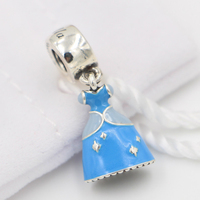 Top Quality Enamel Princess Dress Beads Pendant Charms Fit Women Pandora Bracelets Bangles 925 Sterling Silver