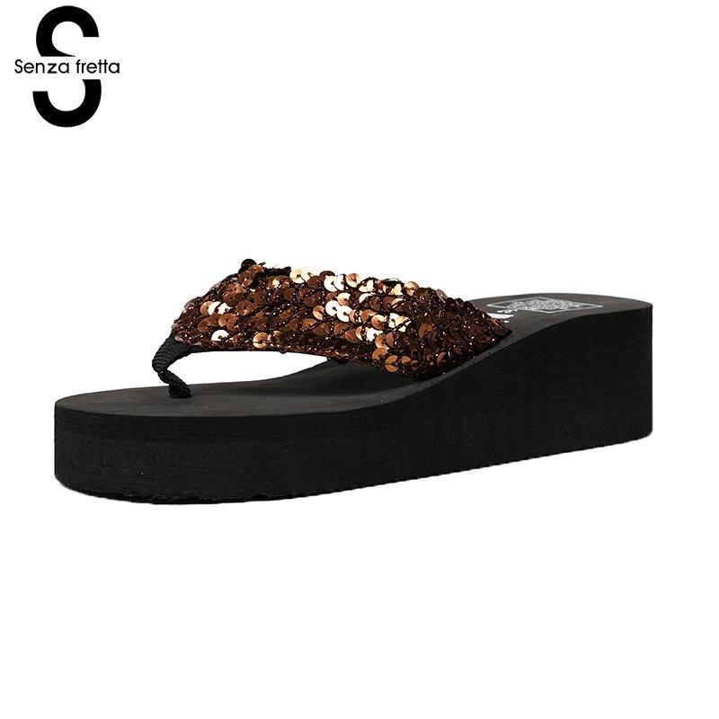 Senza Fretta Summer Women Shoes Flip Flops Sequins Sandals Beach Flip Flops Sandals Flip Flops Lady Wedges Sandals Shoes Women