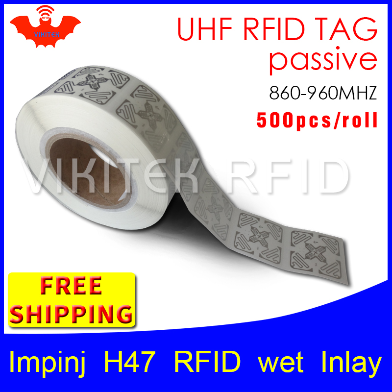 RFID tag UHF sticker Impinj H47 EPC6C wet inlay 915mhz868mhz Higgs3 500pcs free shipping long range adhesive passive RFID label 1000pcs long range rfid plastic seal tag alien h3 used for waste bin management and gas jar management