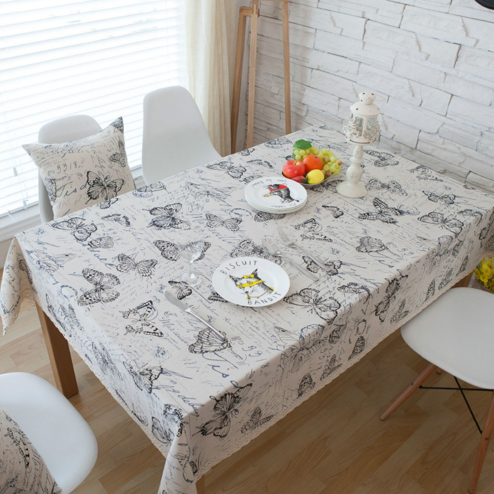 Ourdecok Linen Tableclothes Butterfly Table Cloth Print