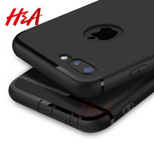 H & A ultra cienki futerał silikonowy do iphone 7 6 6s 8 X okładka Coque czarna powłoka miękka TPU matowe etui na telefon do iphone 7 8 plus