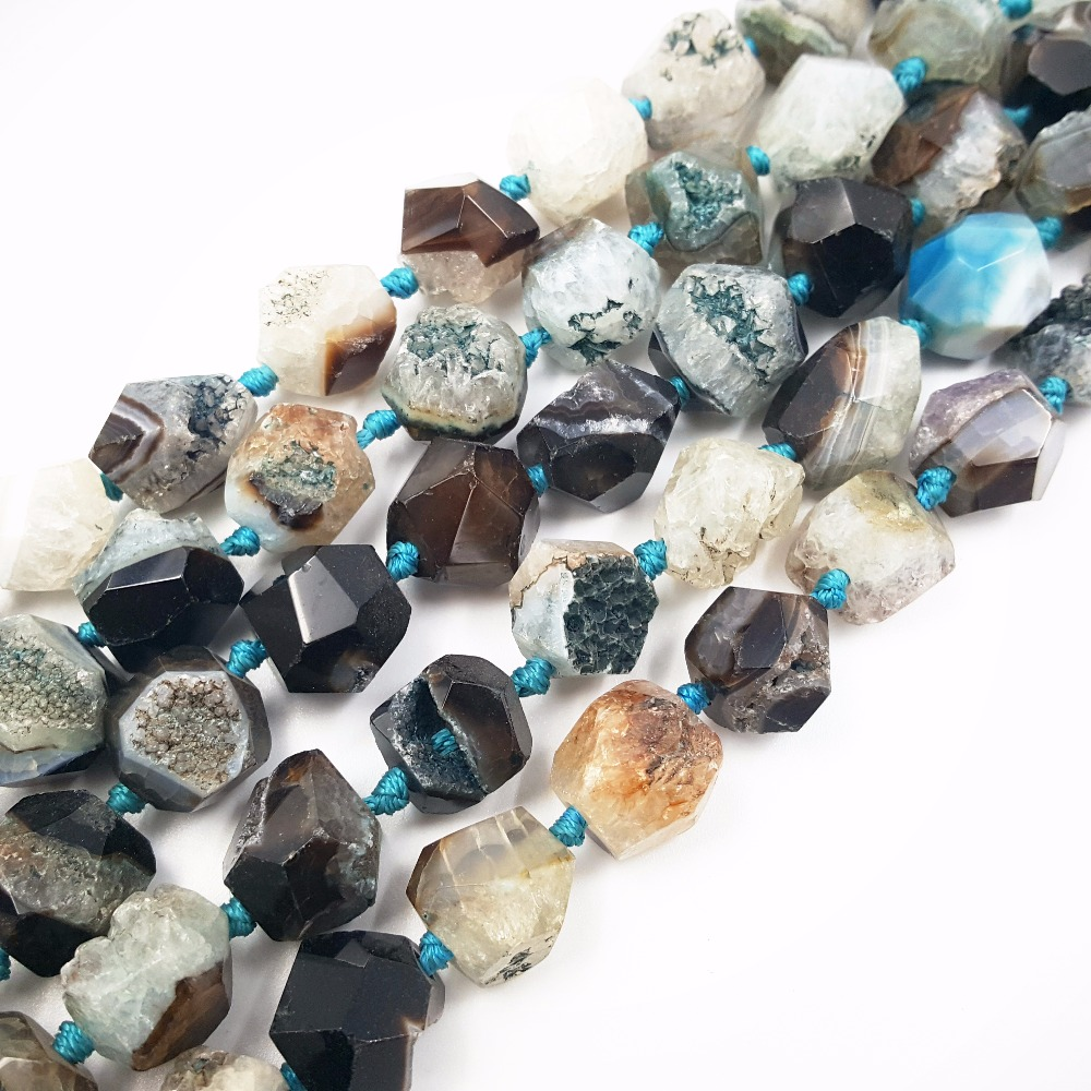 LiiJi Unique Stock Sale Natural Stone Blue Crystal Agates Freeform Nugget Shape Loose Beads 15 Strand For Jewelry Making