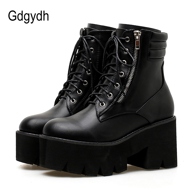 Gdgydh Wholesale Autumn Ankle Boots For Women Motorcycle Boots Chunky Heels Casual Lacing Round Toe Platform Boots Shoes Female(China)