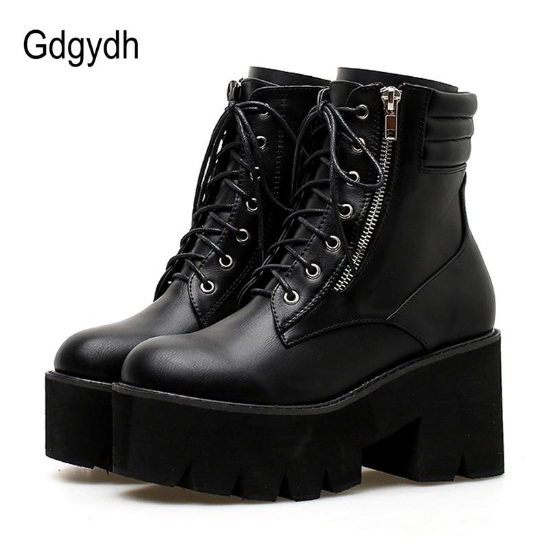 Gdgydh/оптовая продажа, осенние ботильоны для женщин, мотоциклетные ботинки на не сужающемся книзу массивном каблуке, повседневные ботинки на ...
