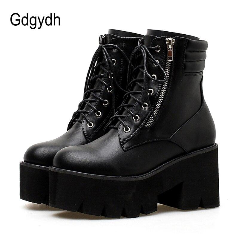Gdgydh Gros Automne bottines Pour Femmes bottes de moto talons épais décontracté Laçage Bout Rond Plate-Forme Bottes Chaussures Femme