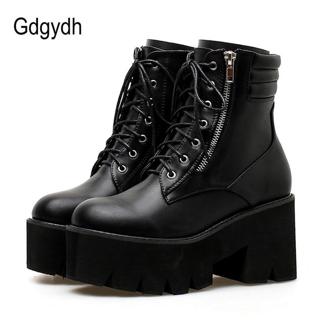 Gdgydh Toptan Sonbahar yarım çizmeler Kadın Motosiklet Botları Için Tıknaz Topuklu Rahat Bağcık Yuvarlak Ayak Platformu Çizmeler Ayakkabı Kadın