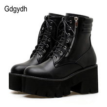 Купить с кэшбэком Gdgydh Wholesale Autumn Ankle Boots For Women Motorcycle Boots Chunky Heels Casual Lacing Round Toe Platform Boots Shoes Female