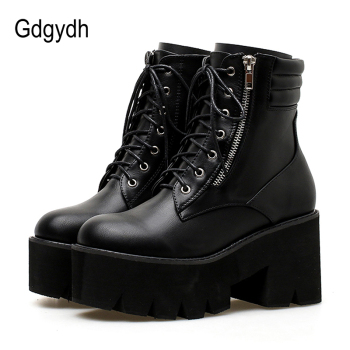 Gdgydh Wholesale Autumn Ankle Boots For Women Motorcycle Boots Chunky Heels Casual Lacing Round Toe Platform Boots Shoes Female women ankle leather boots split toe round heels splited toe lady shoes woman high heels female boots ninja tabi boots