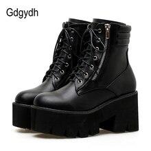 ¡Venta al por mayor! Botines de mujer Gdgydh de otoño, botas de moto de tacón grueso con cordones informales, botas con plataforma y punta redonda para mujer