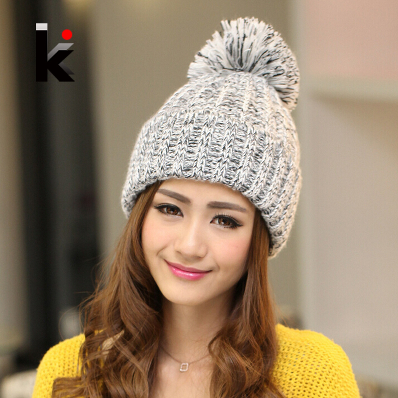Women Beanies  Autumn And Winter Female Hats Hot Selling The Knitting Ball Wool Cap Hat Casual Hats For Women