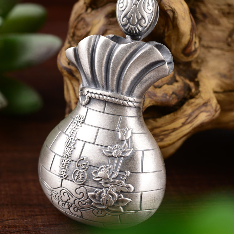 s999silver pendant sweater chain Female male priced direct selling fine silver purse heart sutra pendant necklace love heart opening wings shape sweater chain