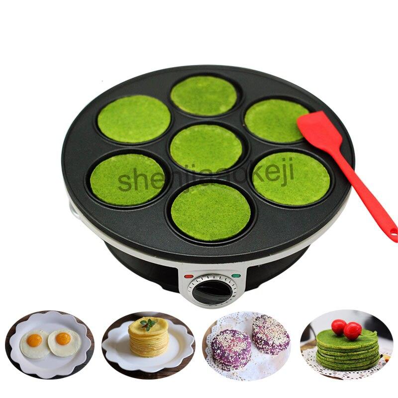 все цены на Househol Crepe Maker No-stick Pancake Machine Multifunction Electric baking pan machine 7-hole pancake machine Breakfast Machine онлайн