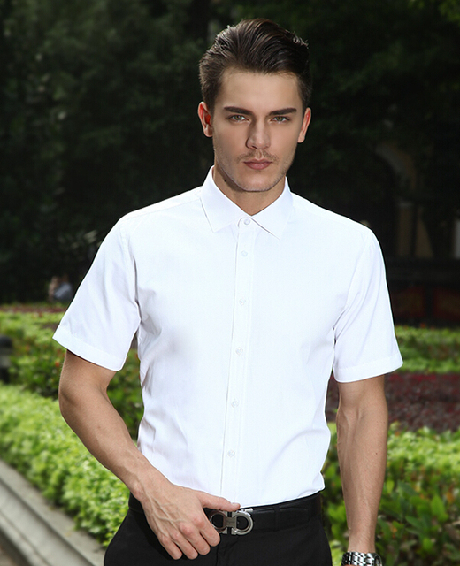 Korean male free shipping men's Leisure suits slim short sleeved formal Work shirt Professional Business DP occupation overshirt