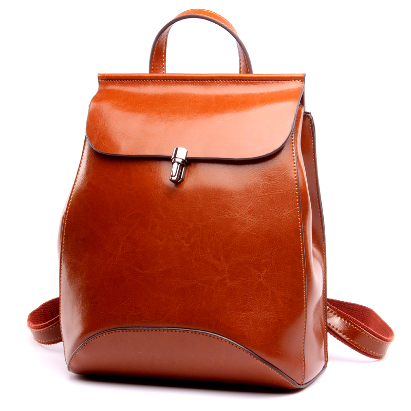 2018 100 %Genuine Leather Small Backpack Women Bag Oil Wax Cow Leather Mochila Vintage Backpacks Black Female Casual Back Pack kajie famous brand designer backpack for women 2018 retro genuine leather female back pack oil wax cow leather ladies travel bag