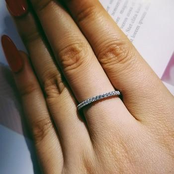 86a513a0994a Newshe 2 piezas anillo de boda Conjunto Clásico de joyería de la plata  esterlina 925 sólida 1
