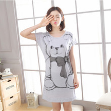 Free Shipping Women Nightgowns Summer Sleepwear Casual Night Dresses Short Sleeve Letter Print Loose Nightdress Home Clothes недорого