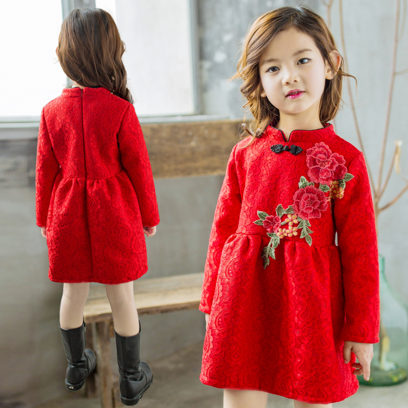 Girl in red dress autumn 2017 new girls clothes kid spring princess baby upset children han edition flower elegant dresses