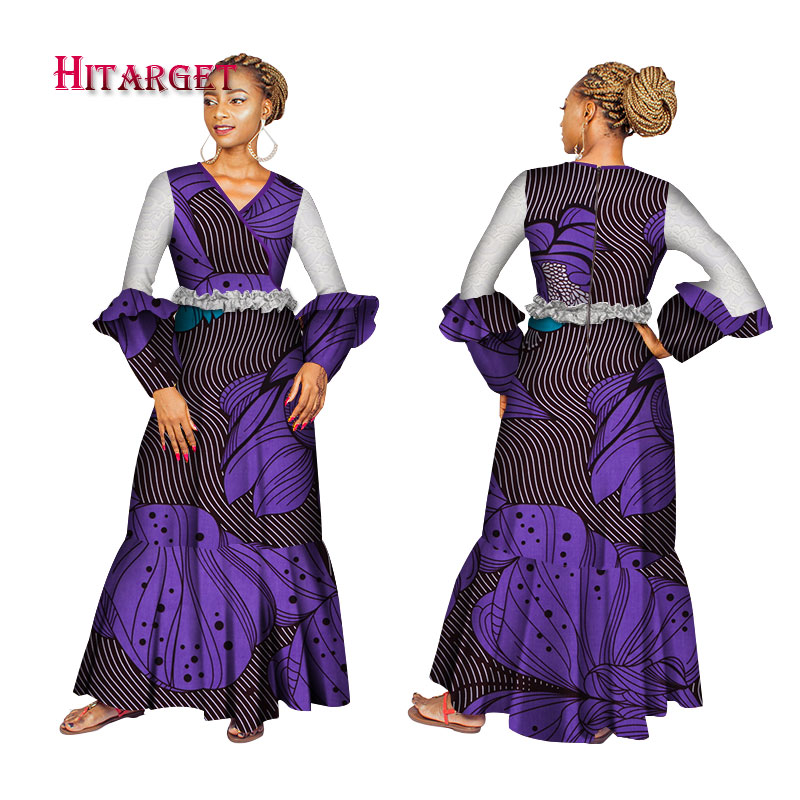 Fashion African Dresses Women Long Party wedding Dresses with long sleeves Traditional African Bazin Riche Print clothes WY3892 in Africa Clothing from Novelty Special Use