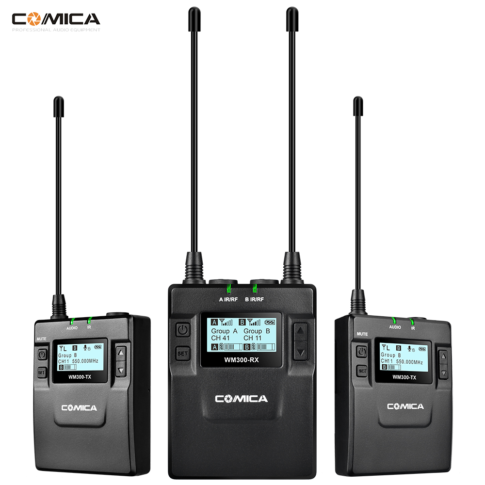 COMICA CVM WM300 UHF 96 channels Metal Wireless Microphone Dual transmitters 1 Receiver , 120m smooth recording for DSLR Video
