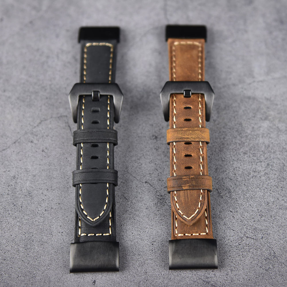 26mm 22mm 20mm Genuine Leather Easy Fit WatchStrap band for Garmin Fenix 6X 6 6S 5 5x 5s Quick Release Watchband WristBand Sport