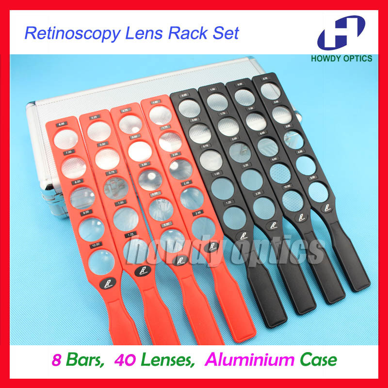 Ophthalmic retinoscopy lens rack set plastic bar Aluminium case board lenses optical supplies 8 bars 40