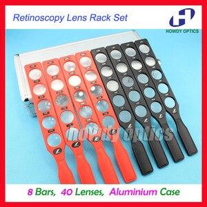 Image 1 - Ophthalmic retinoscopy lens rack set plastic bar Aluminium case board lenses optical supplies 8 bars 40 lenses