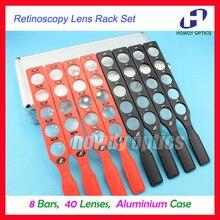 עיניים retinoscopy עדשת מתלה סט פלסטיק בר אלומיניום מקרה לוח עדשות אופטי אספקת 8 ברים 40 עדשות