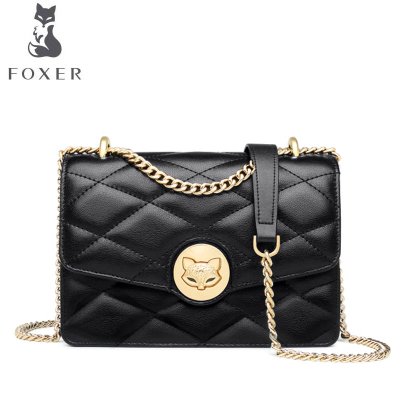 FOXER brand bags for women 2018 new women leather bag fashion chain small bag designer women leather handbags shoulder bag foxer 2017 new brand women leather bag fashion casual wild women leather handbags shoulder bag quality cowhide small bag